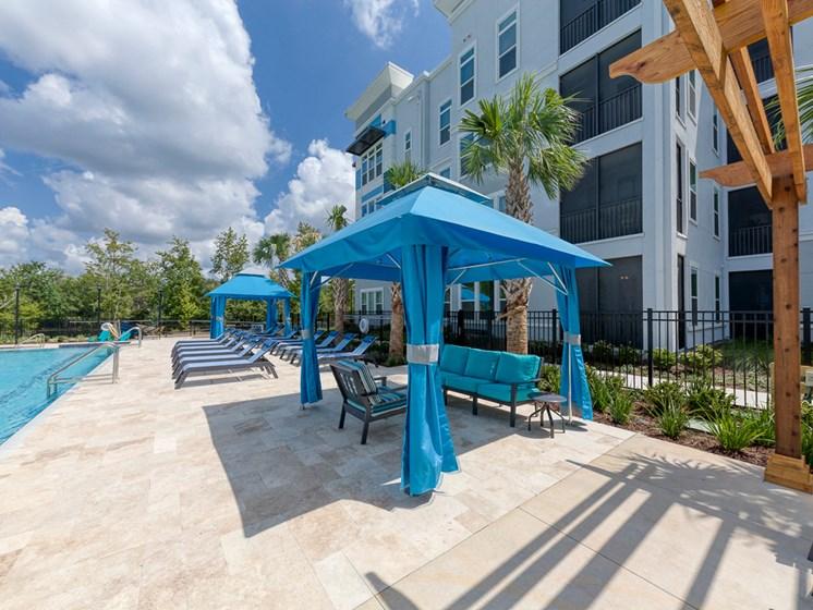 Ciel Luxury Apartments | Jacksonville, FL | Poolside Cabanas
