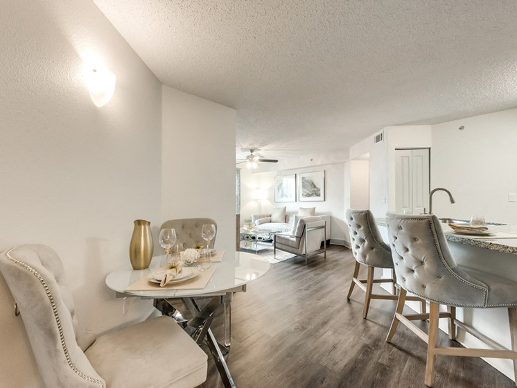 Bahia Cove Apartments Open Kitchen, Living, and Dining Space