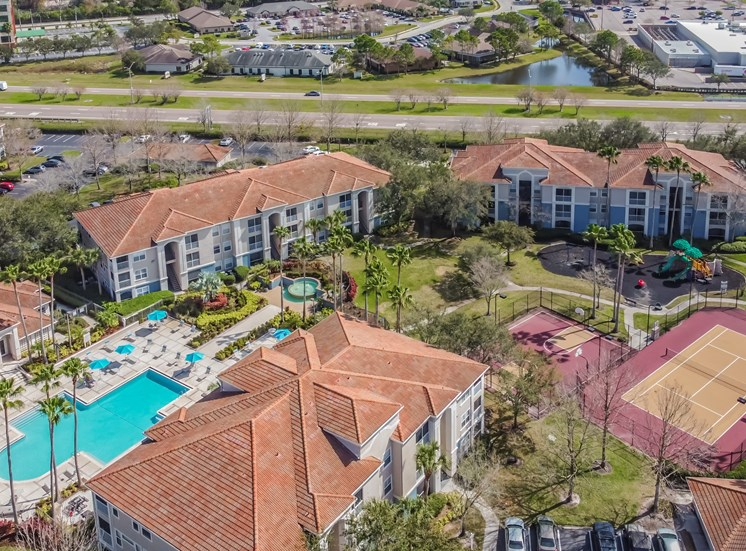 Aerial View Of Pool at The Boot Ranch Apartments, Palm Harbor, FL