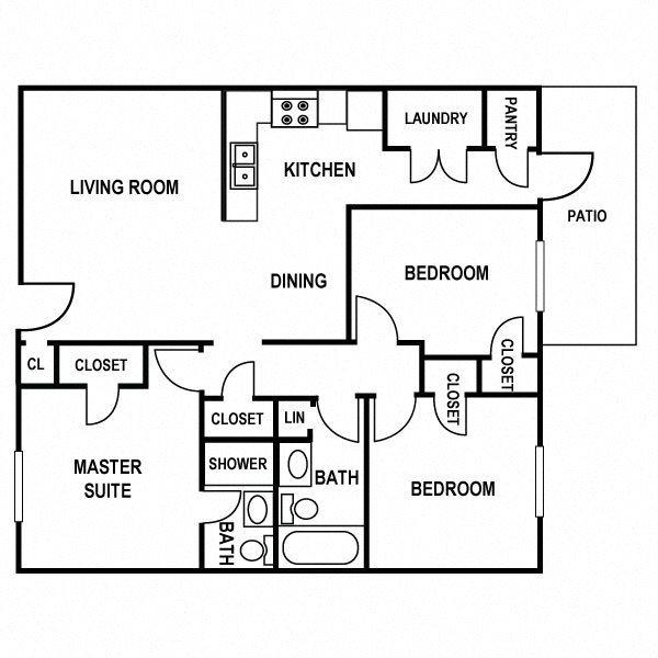 Three Bedroom Floor Plan at Huntington Apartments in Concord, North Carolina, NC