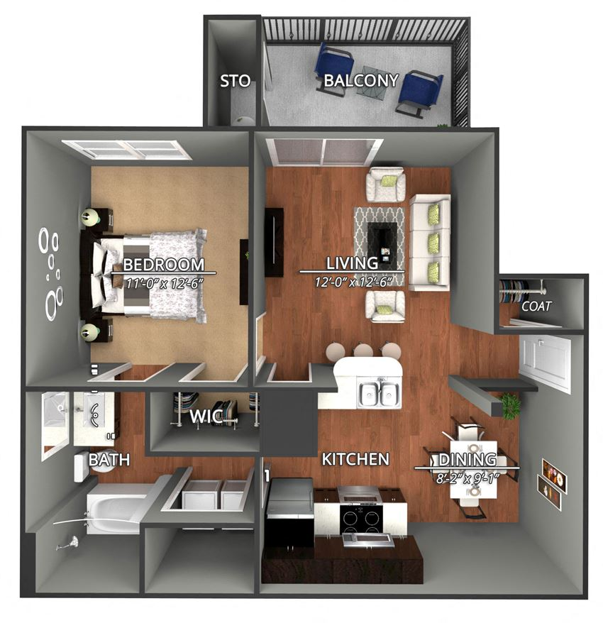 A1 Floor Plan at Creekside on Parmer Lane Apartments in Austin, Texas, TX