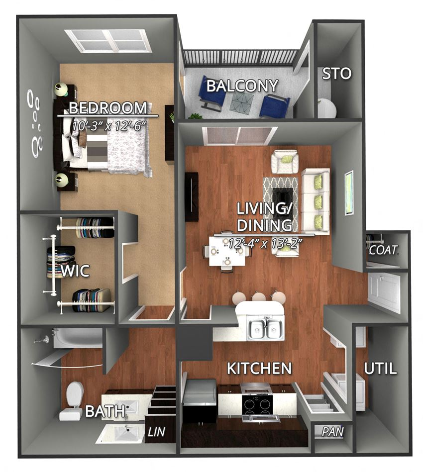 A2 Floor Plan at Creekside on Parmer Lane Apartments in Austin, Texas, TX
