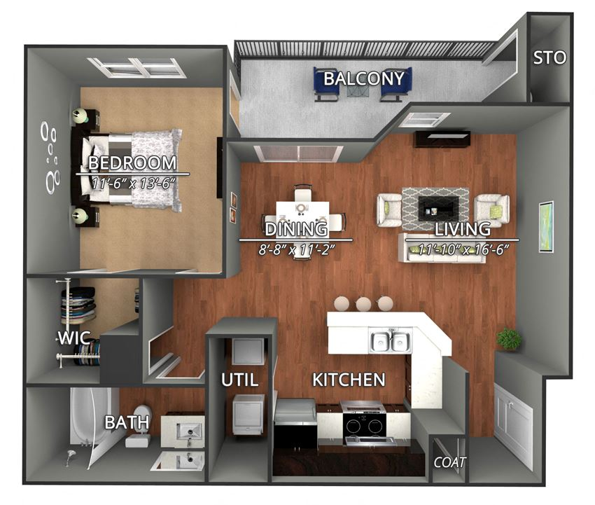 A3 Floor Plan at Creekside on Parmer Lane Apartments in Austin, Texas, TX