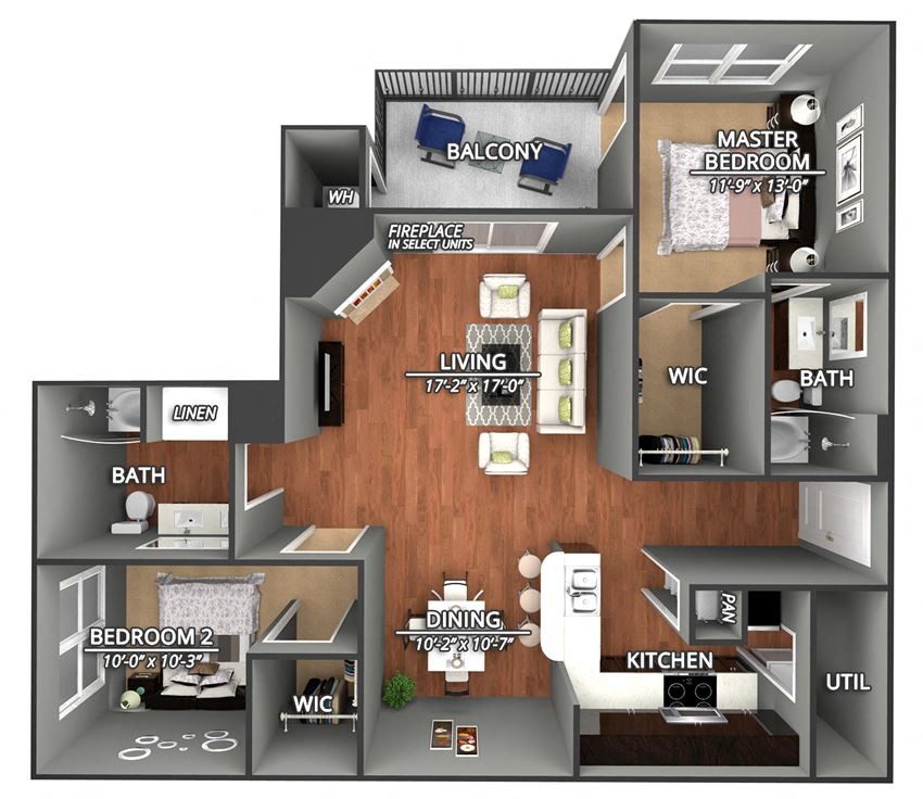 B4 Floor Plans at Creekside on Parmer Lane Apartments in Austin, Texas, TX