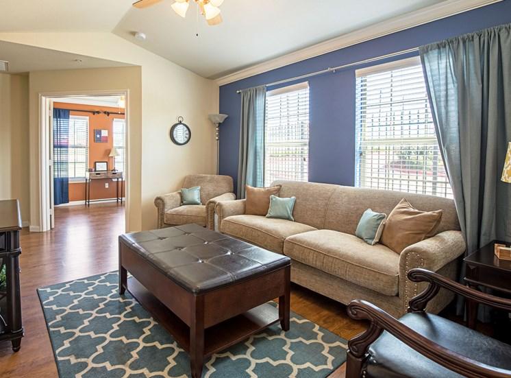 Model Living Room at Bridgemoor at Killeen Apartments in Killeen, Texas, TX