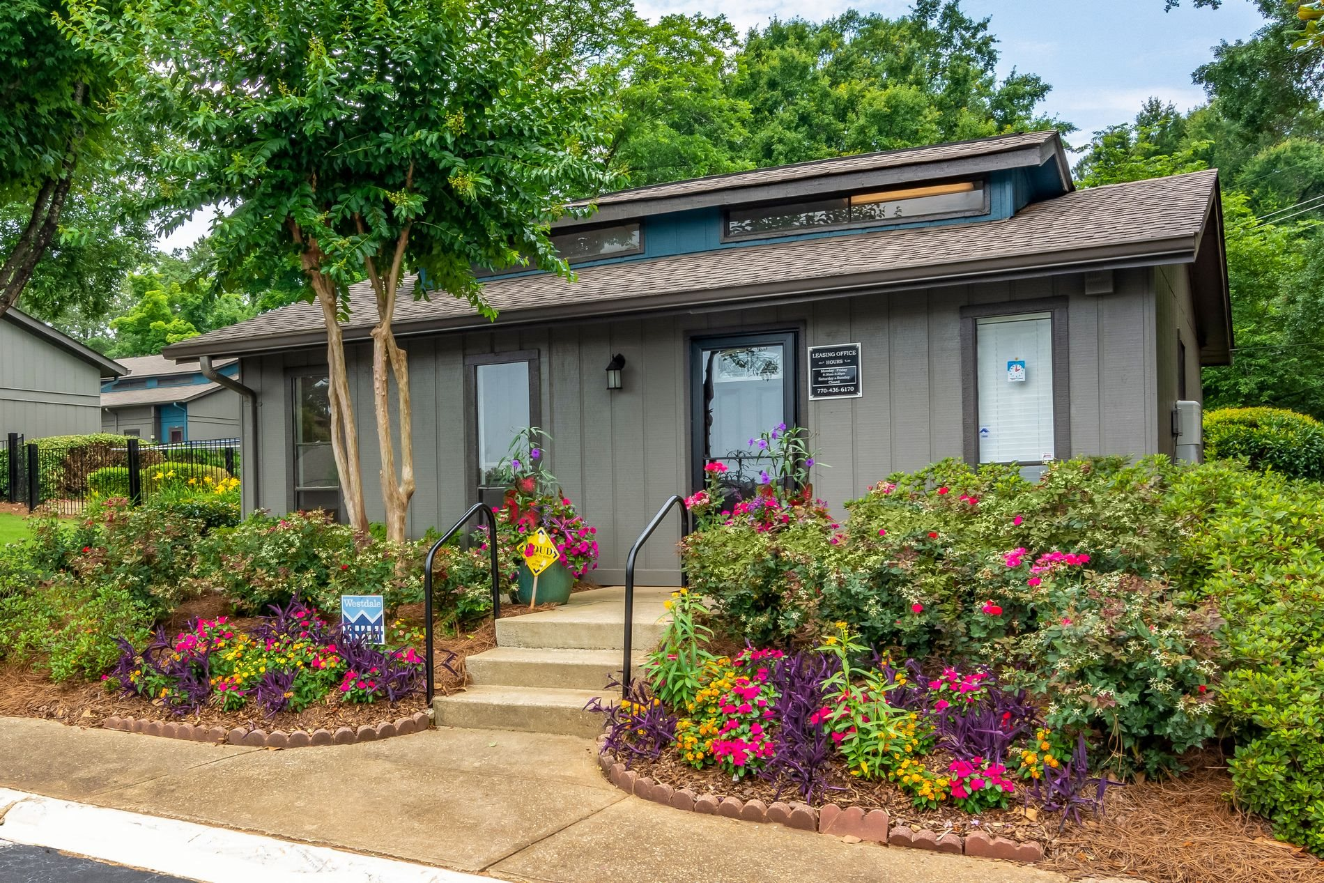 Leasing Office Exterior at Pine Village North Apartment Homes in Smyrna, Georgia, GA