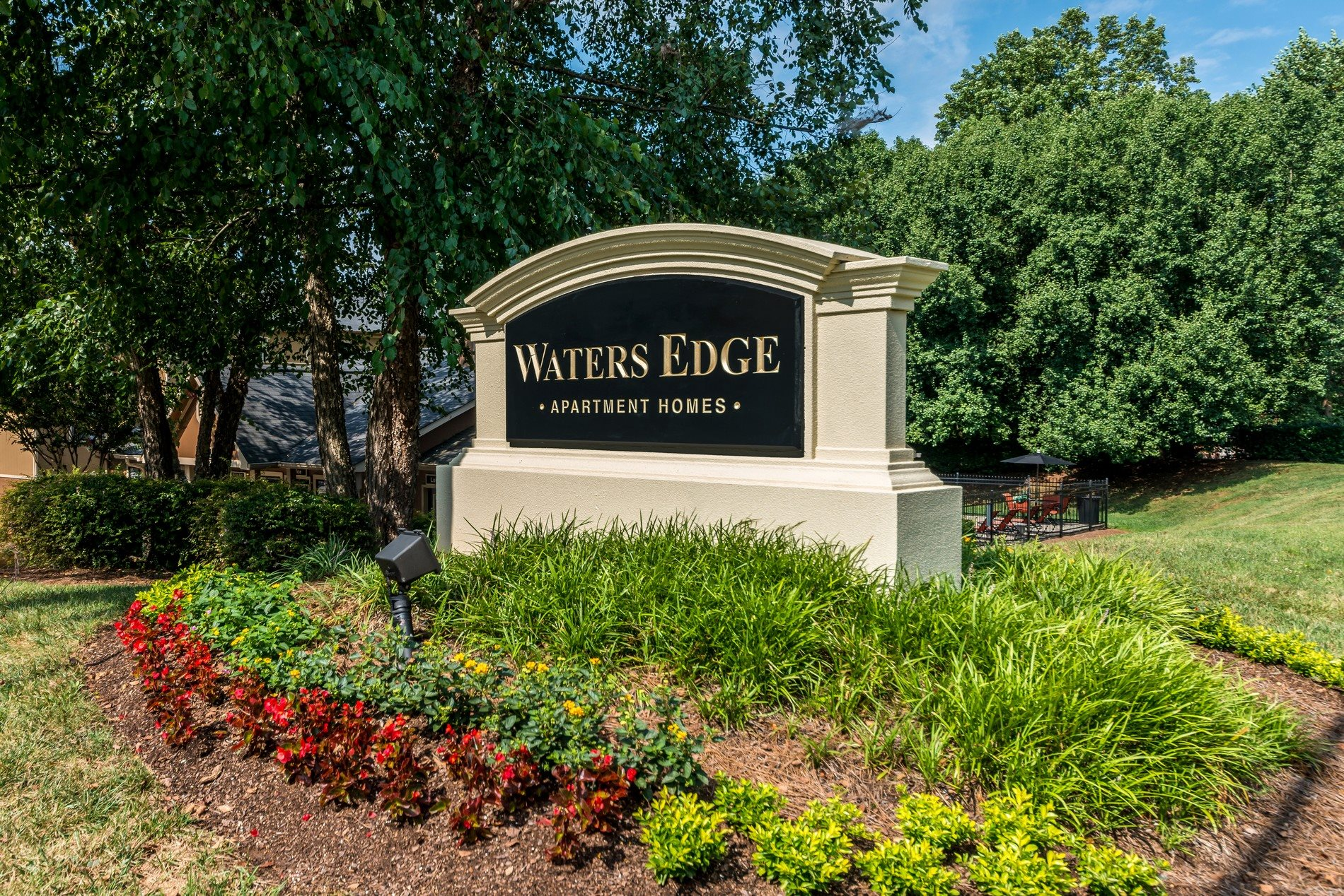 Monument Sign at Waters Edge Apartment Homes in Concord, North Carolina, NC
