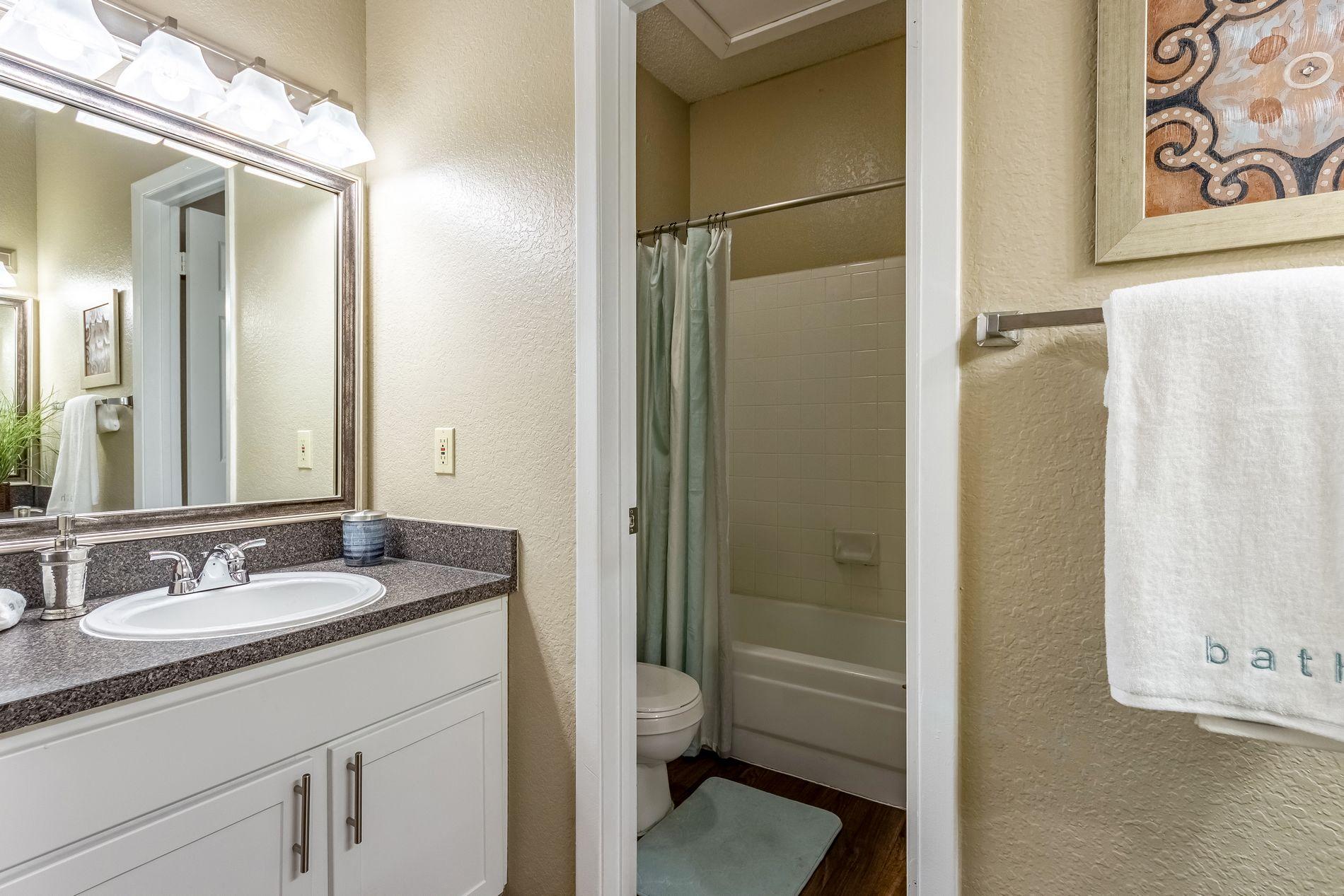 Model Bathroom at La Costa Apartments in Plano, Texas, TX