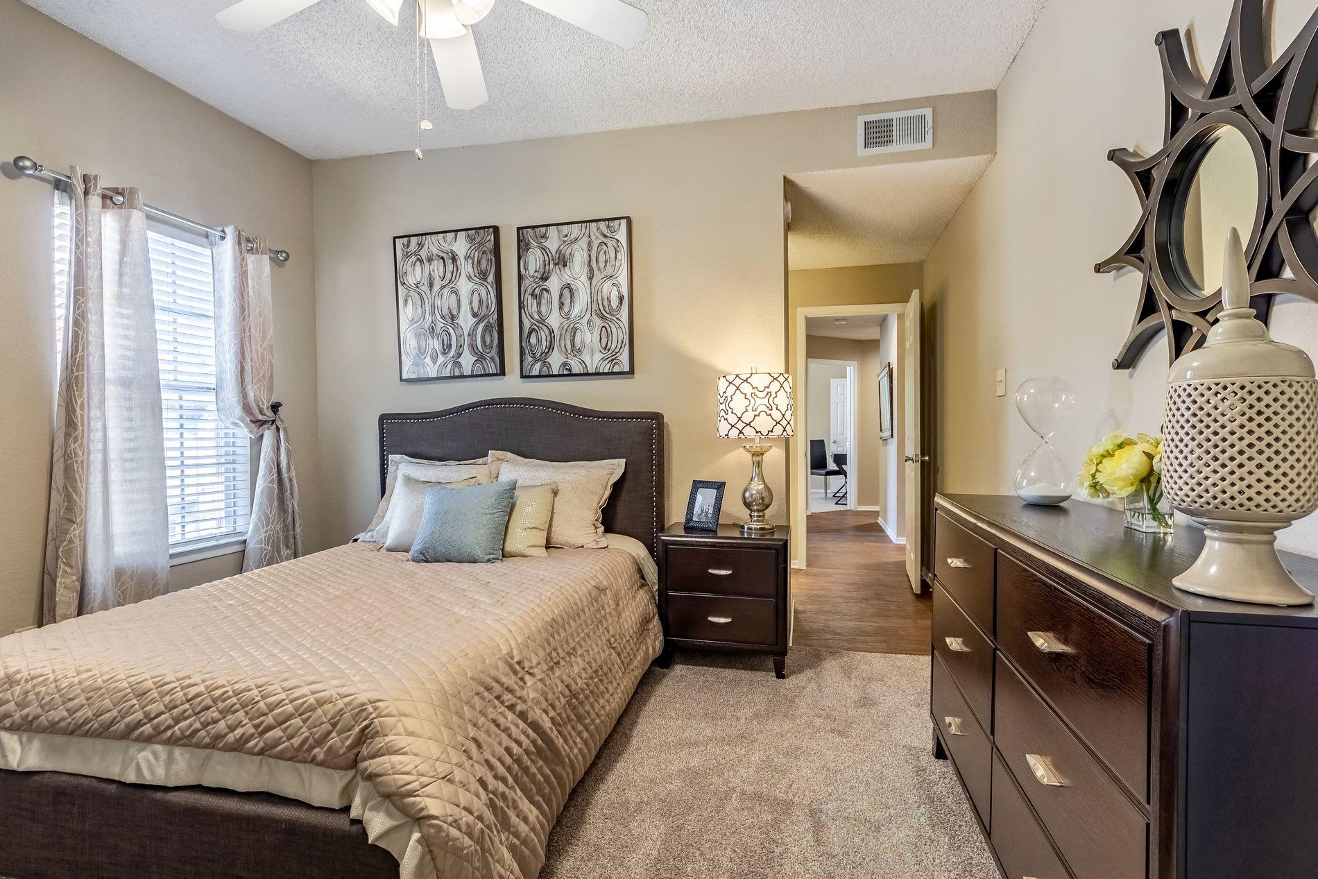 Model Master Bedroom at La Costa Apartments in Plano, Texas, TX