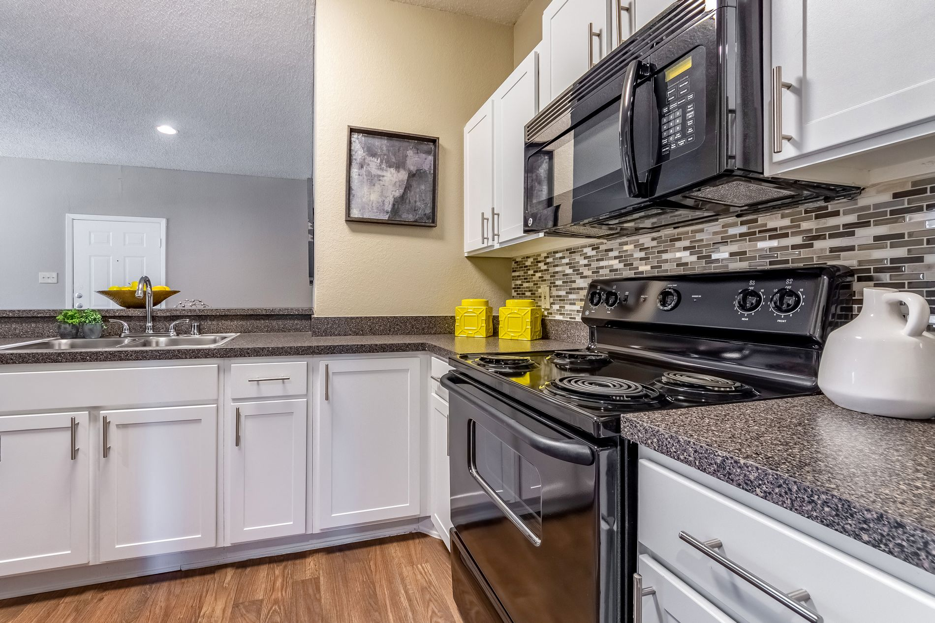 Model Black Kitchen Appliances at La Costa Apartments in Plano, Texas, TX