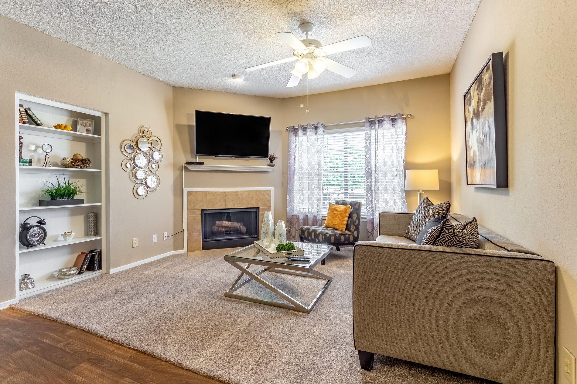 Model Living Room at La Costa Apartments in Plano, Texas, TX