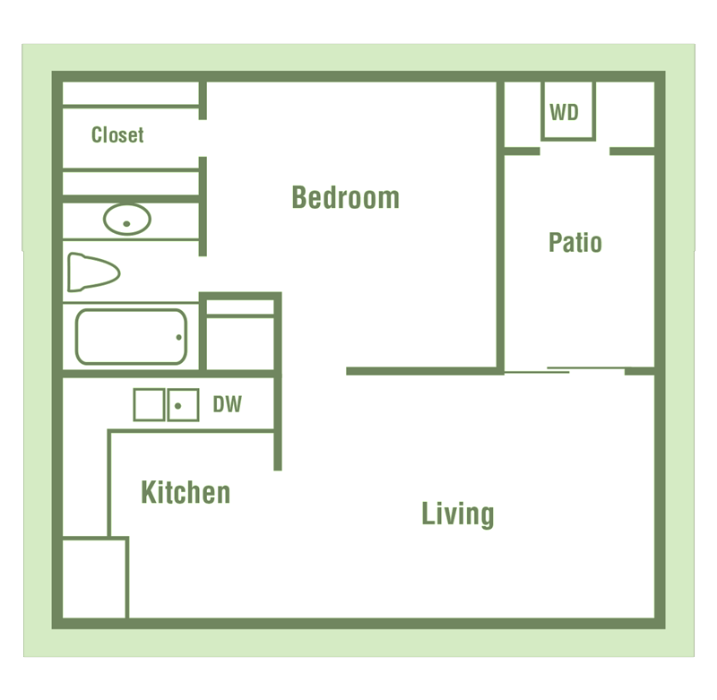 A1 Floor Plan at Walnut Creek Crossing Apartments in Austin, Texas, TX