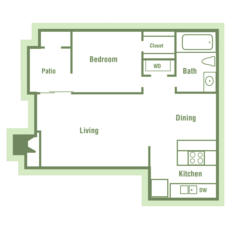 A2 Floor Plan at Walnut Creek Crossing Apartments in Austin, Texas, TX