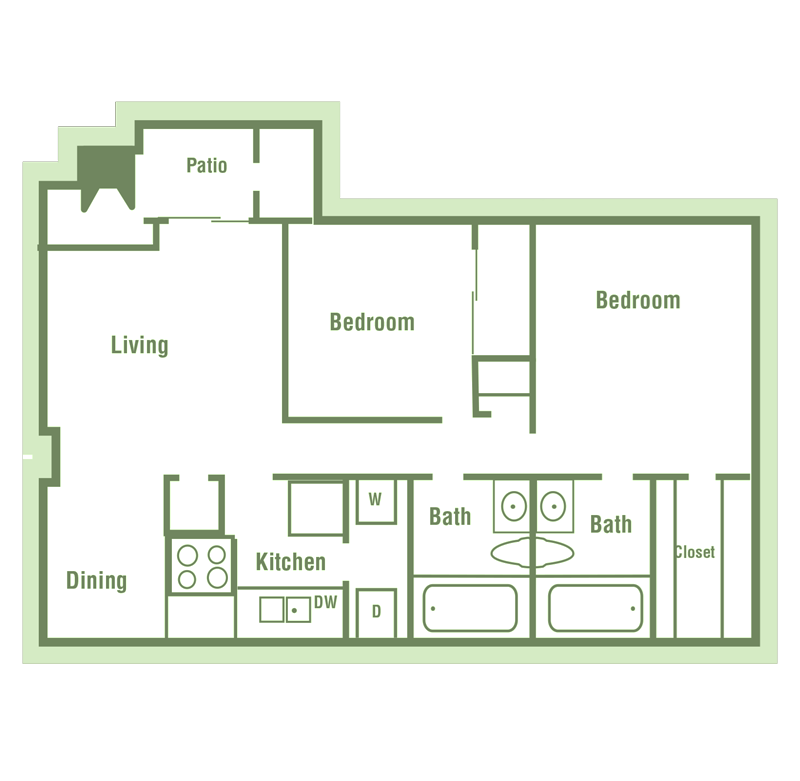B1 Floor Plan at Walnut Creek Crossing Apartments in Austin, Texas, TX
