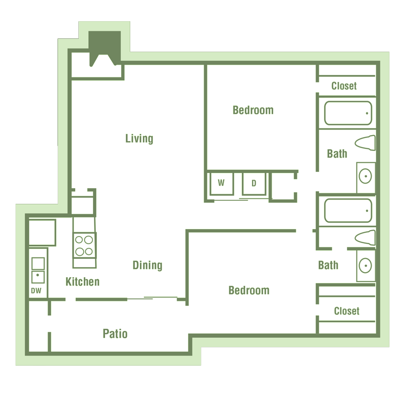 B2 Floor Plan at Walnut Creek Crossing Apartments in Austin, Texas, TX