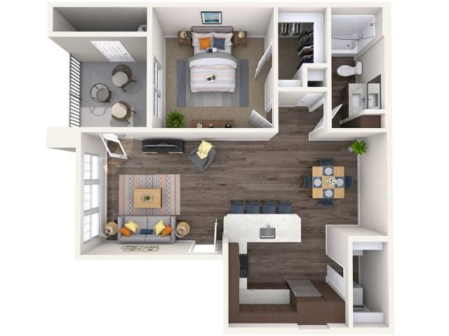 A1 Floor Plan at Copper Falls Apartments, P.B. BELL Assets, Arizona, 85305