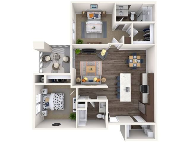 B1 Floor Plan at Copper Falls Apartments, P.B. BELL Assets, Glendale
