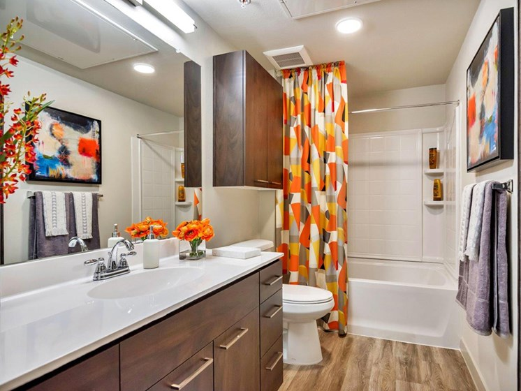 Bathroom with Tub at The Curve at Melrose Luxury Apartments, Phoenix, Arizona