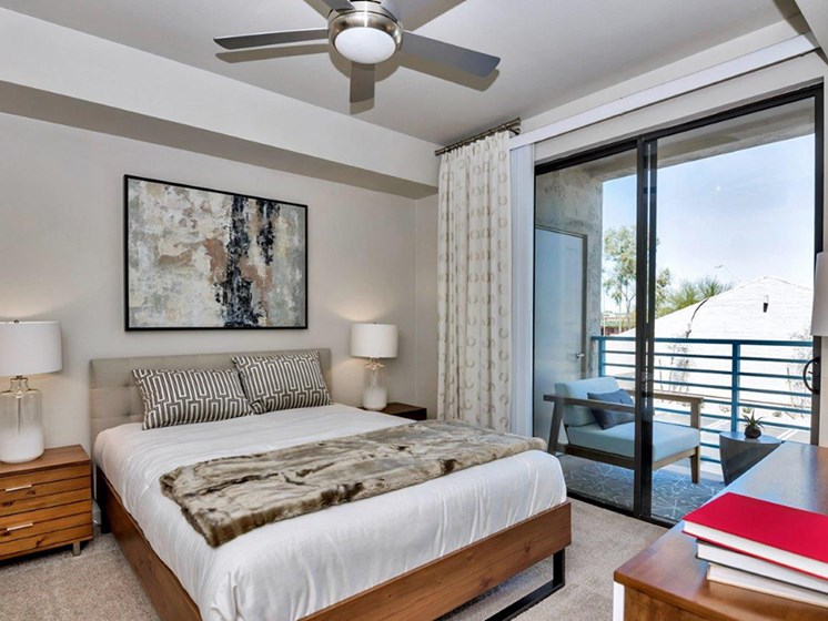 Bedroom with view at The Curve at Melrose Luxury Apartments, Phoenix, AZ, 85013