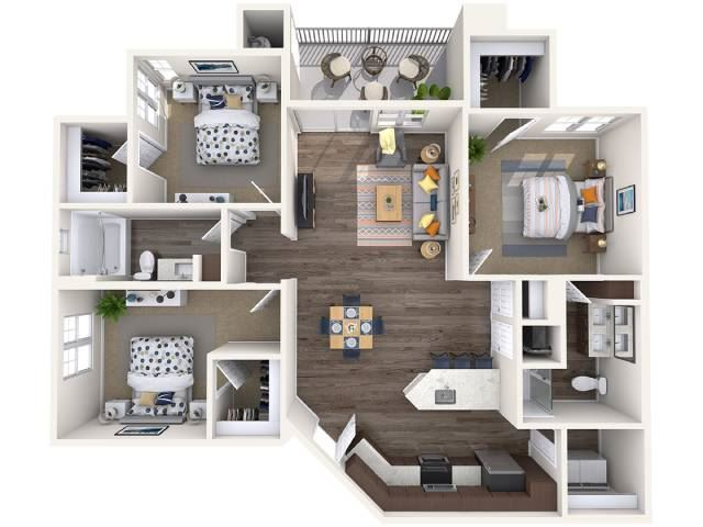 C1 Floor Plan at Copper Falls Apartments, P.B. BELL Assets, Glendale, 85305