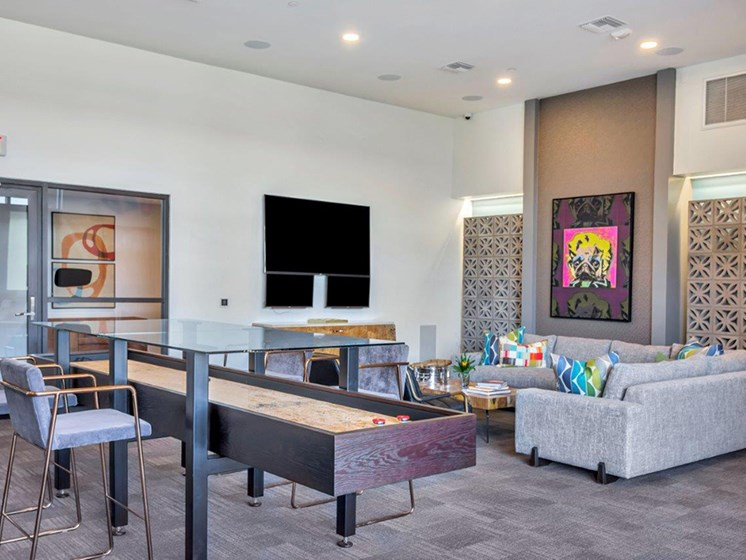 Entertainment area at The Curve at Melrose Luxury Apartments, Phoenix, AZ, 85013