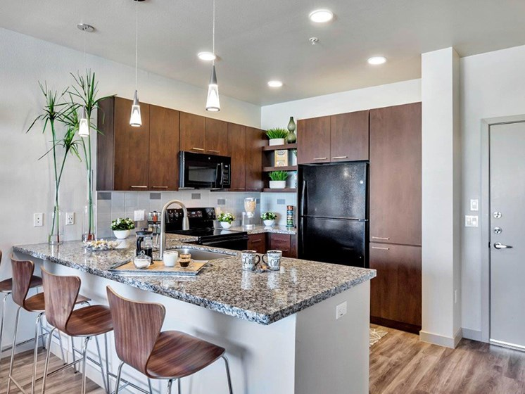 Gourmet kitchen with granite countertops at The Curve at Melrose Luxury Apartments, Phoenix, 85013