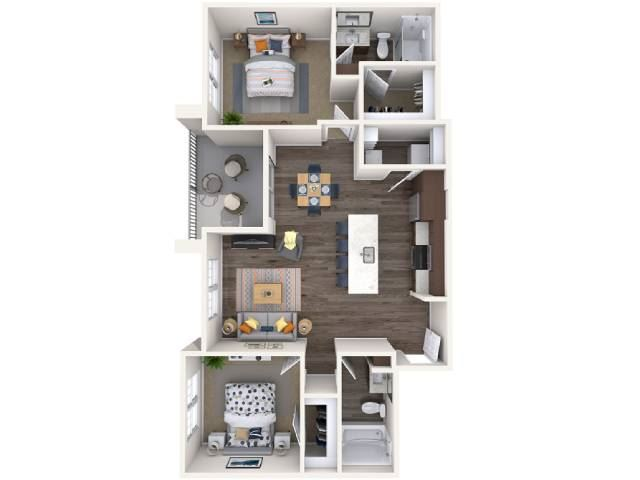 L-2 Floor Plan at Copper Falls Apartments, P.B. BELL Assets, Glendale