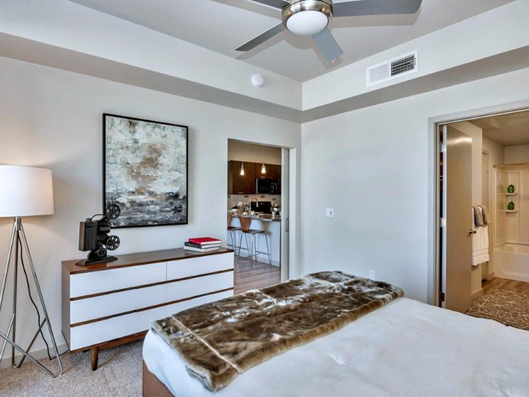 Bedroom Area at The Curve at Melrose Luxury Apartments, Phoenix, 85013