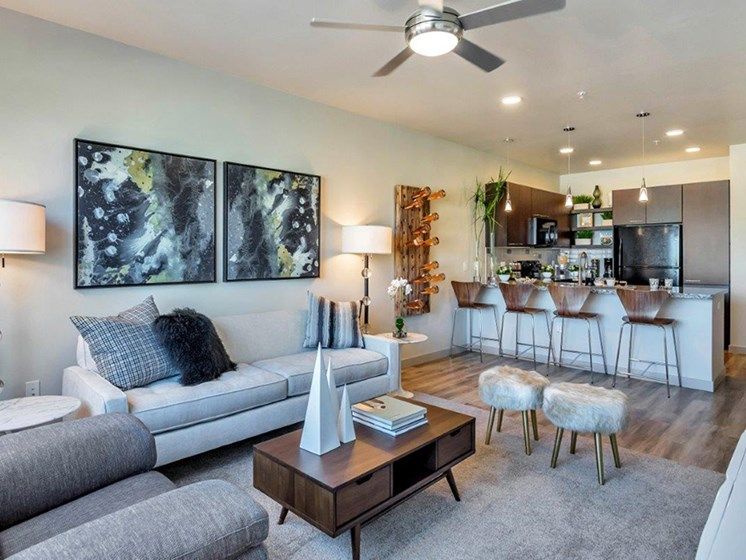 Open and Large Living Room at The Curve at Melrose Luxury Apartments, Phoenix, AZ, 85013