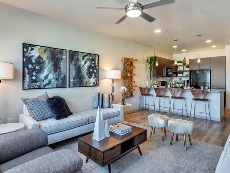 Living Room at The Curve at Melrose Luxury Apartments, Phoenix