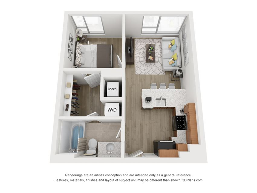 The Atlantic - one bedroom floor plan at South Falls Tower's Manchester apartments