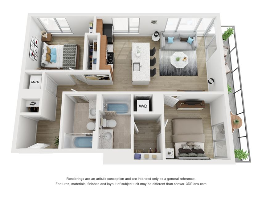 B2 Floor plan of South Falls Tower's two bedroom apartment