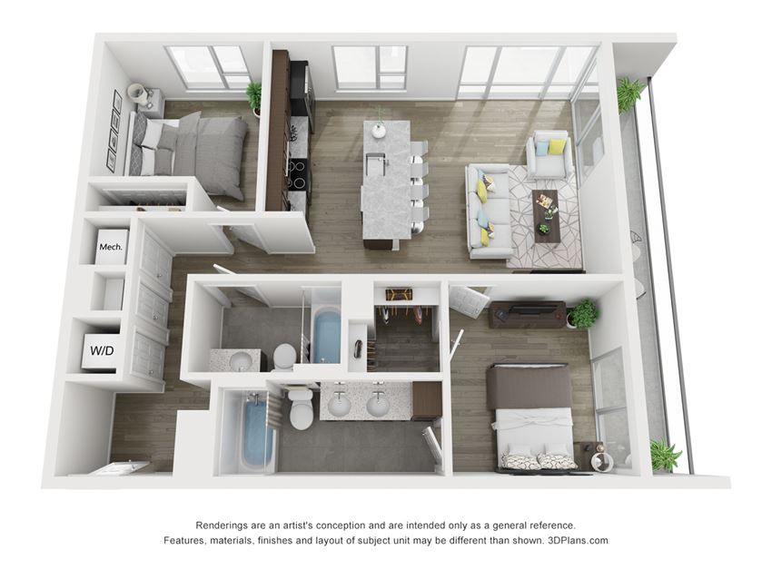 B3 Floor plan of South Falls Tower's two bedroom Manchester apartment