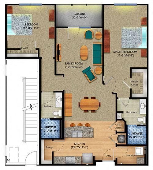 Large 2 Bed 2 Bath Floor Plan at 98 E. McBee Apartments, South Carolina, 29601