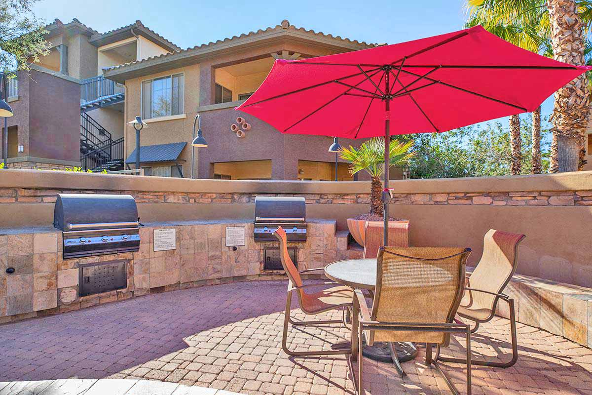 Umbrella Shaded Chairs By Pool at Painted Trails, Gilbert, Arizona