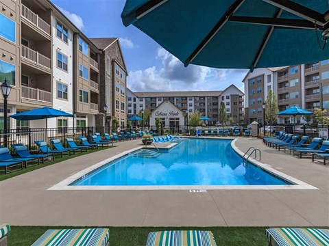 Lounging By The Berewick Pointe Pool at Charlotte Apartment Homes