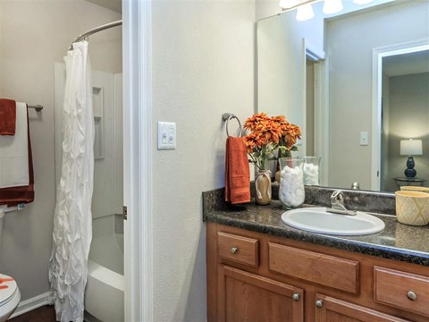 Renovated Bathrooms With Quartz Counters at Edwards Mill Townhomes & Apartments, North Carolina, 27612