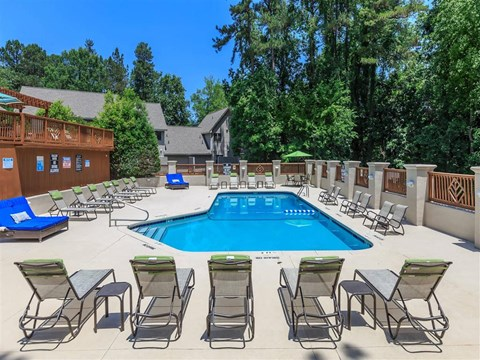 Pool Side Relaxing Area With Sundeck at Edwards Mill Townhomes & Apartments, Raleigh