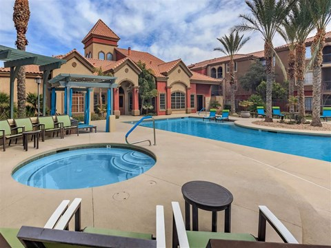 Shimmering Swimming Pool with Cabanas at Montecito Pointe, Las Vegas