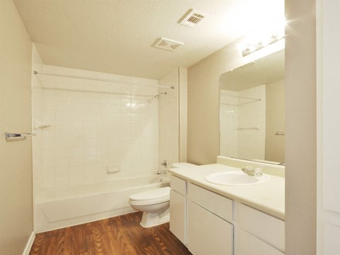Wood Style Flooring in Bathroom at Stoneleigh on Cartwright Apartments, J Street Property Services, Mesquite