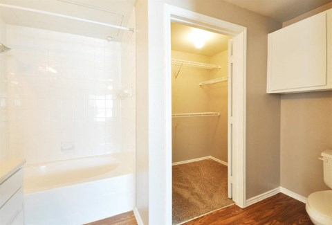 Huge Bathroom and Closet Space at Stoneleigh on Cartwright Apartments, J Street Property Services, Texas