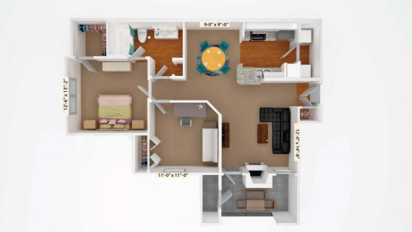Floor Plan B1 at Stoneleigh on Cartwright Apartments, J Street Property Services, Downtown Mesquite Texas