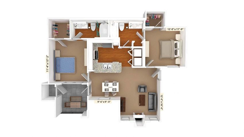2 Bed Room Floor Plan at Stoneleigh on Cartwright Apartments, J Street Property Services, Balch Springs, TX 75180