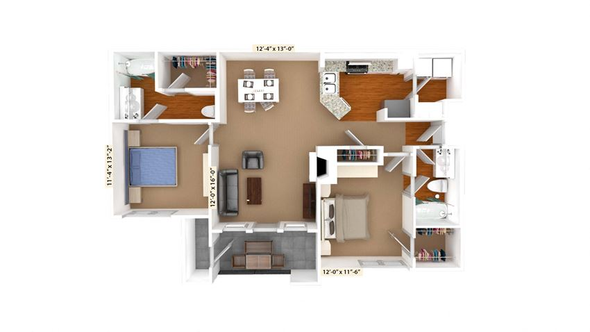 2 Bedroom Floor Plan B3 at Stoneleigh on Cartwright Apartments, J Street Property Services, Texas, 75180