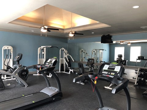 State of the Art Fitness Center at Stoneleigh on Cartwright Apartments, J Street Property Services, Mesquite, TX