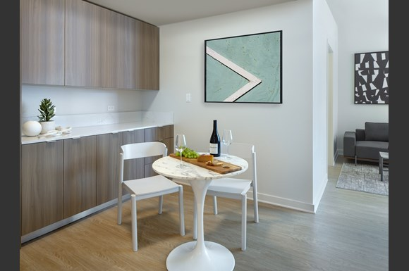 Furnished Westwood Apartments mysuite at Wilshire Margot Co Living Master Suite Product Dining Table