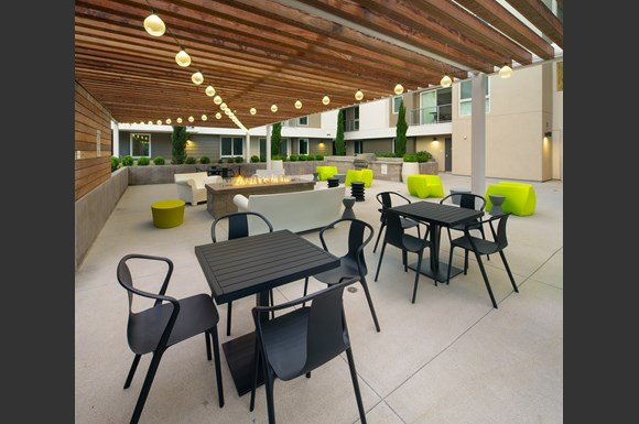 Westchester Apartments Ascent Facade Courtyard Tables