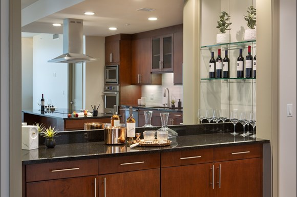 Westwood Luxury Apartments Wilshire Victoria Unit 502 Dry Bar Granite Countertops