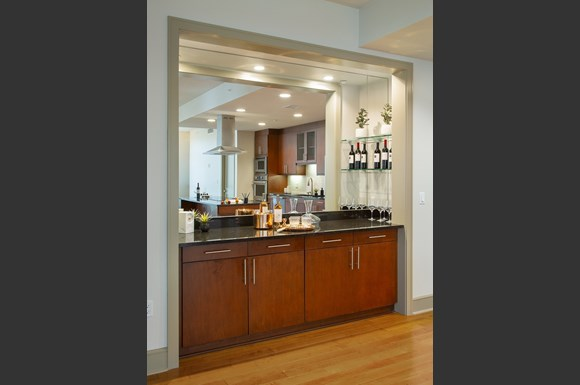 Westwood Luxury Apartments Wilshire Victoria Unit 502 Kitchen Area Dry Bar With Mirror