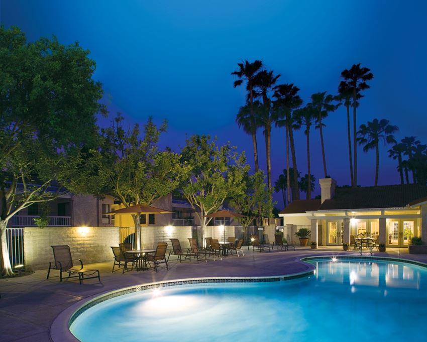 Well lit pool at La Serena Apartments, CA, 92128